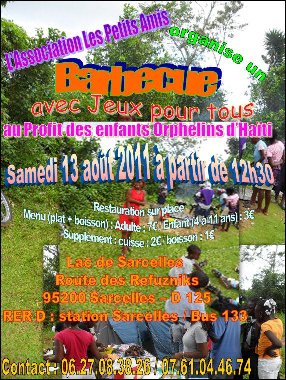 Aperçu du flyer du barbecue au profit de l'APA, du samedi 13 août 2011 dès 12 h 30, Sarcelles, France.