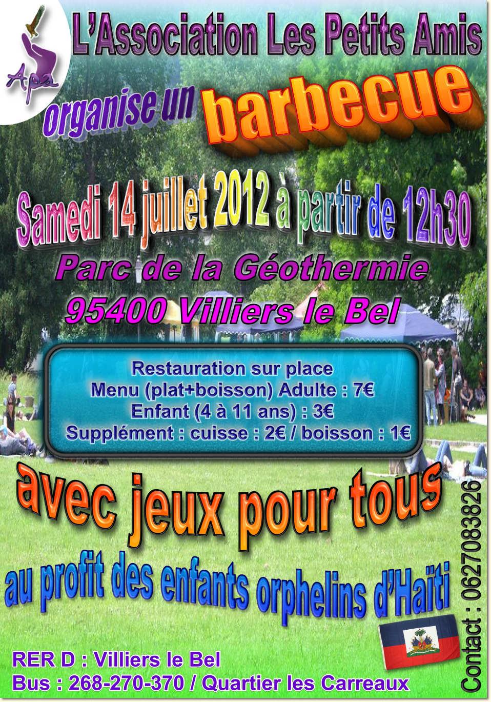 Le samedi 14 juilet 2012 dès 12h30, venez nombreux au barbecue de Villiers-le-Bel (95) !